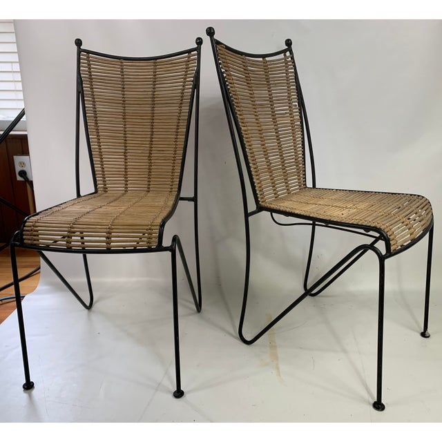 Ficks & Reed Mid-Century Modern Bamboo & Rod Iron Dining Chairs - Set of 2 For Sale - Image 11 of 11