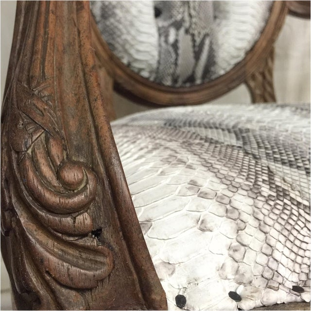 Wood Hollywood Regency Daf House Genuine Python Leather and Swarovski Crystal Arm Chair For Sale - Image 7 of 12