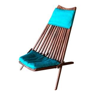 Vintage Mid Century Danish Modern Teak Folding Chair For Sale