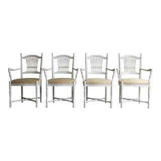 Late 20th Century French Provincial Dining Arm Chairs- Set of 4 For Sale