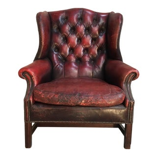 Red Leather French Wingback Chair For Sale