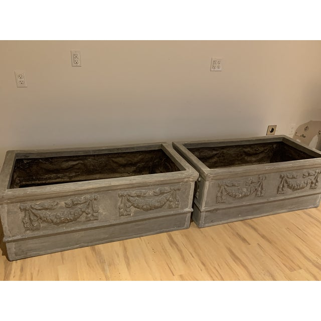 Grand Classical Planters With Swag Detailing in Faux Lead Resin - a Pair For Sale - Image 4 of 10