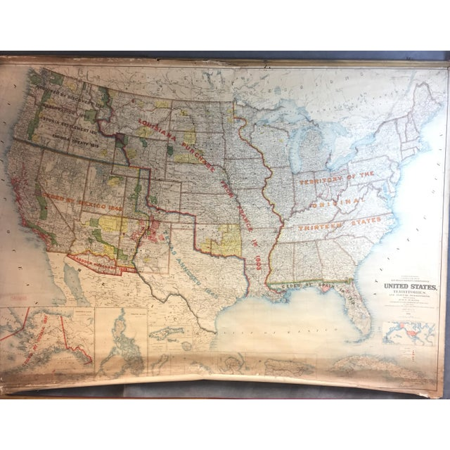 Vintage pull down map of United States Of America and its territories. US Department of the Interior - US General Land...