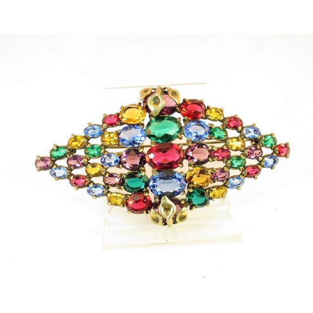 Czech Art Deco Jewel-Tone Bohemian Crystal Brooch 1920s For Sale - Image 12 of 12