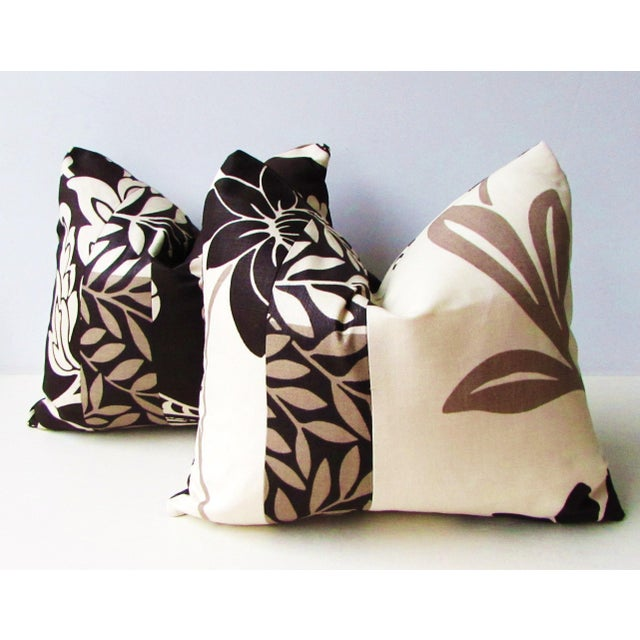 Tan Romo Black & White Modern Floral Pillow Covers - a Pair For Sale - Image 8 of 8