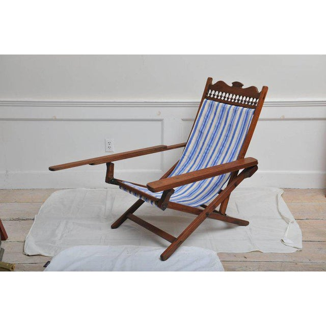 Folding, Adjustable, Sling-Back Plantation Chair With Extending Leg Rests For Sale - Image 4 of 6