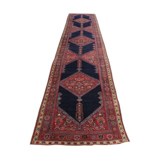 Antique Northwest Red and Navy Persian Runner Rug - 3′7″ × 16′6″ For Sale