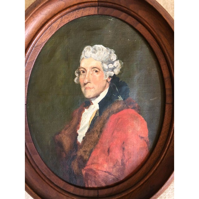 Late 19th century or early 20th century oval oil painting on canvas of Thomas Jefferson in a walnut frame.