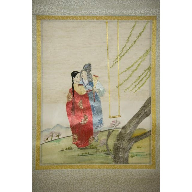 Mounted in washed fruitwood shadow boxes under glass, depicting courting and family scenes with finished wooden rod at...
