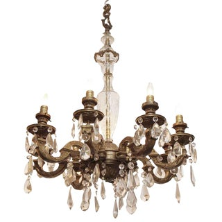 Vintage Traditional Eight Arm Crystal & Bronze Chandelier For Sale