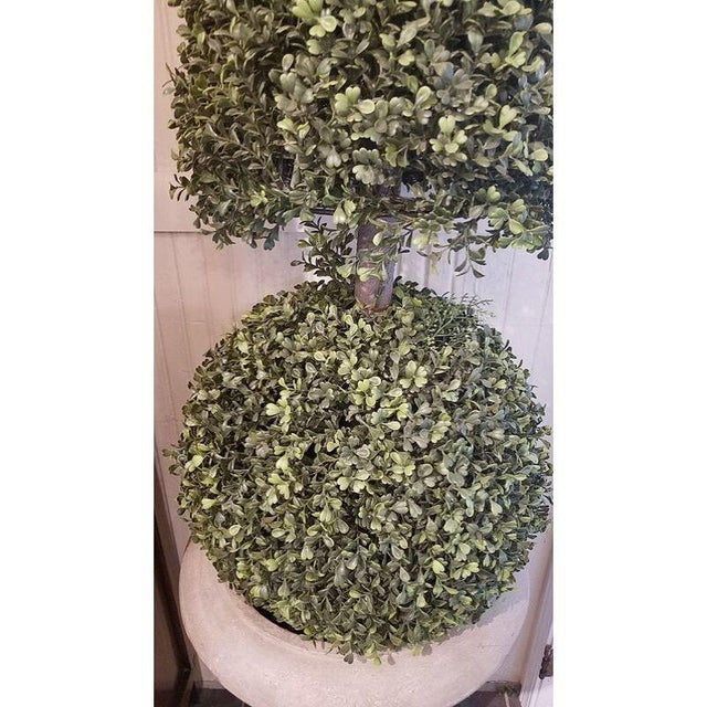 1970's Vintage Faux Topiary in Stone Composite Urns For Sale - Image 4 of 5