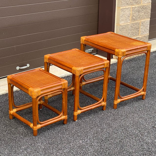 Leather Wrapped Rattan Nesting Tables - Set of 3 For Sale - Image 12 of 13