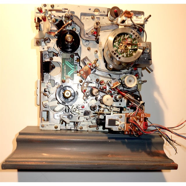 Component Art Sculpture Mounted on Wood Like Base. Vintage Tv. Mid-Later 20th Century For Sale - Image 11 of 12