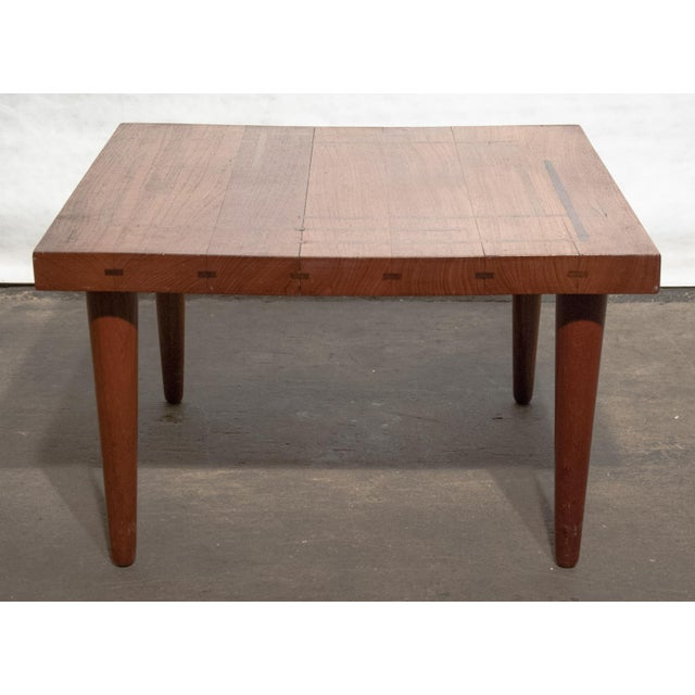 Abstract Circa 1960, Denmark, J. Schmidt Inlaid Rosewood and Teak Side Table For Sale - Image 3 of 9