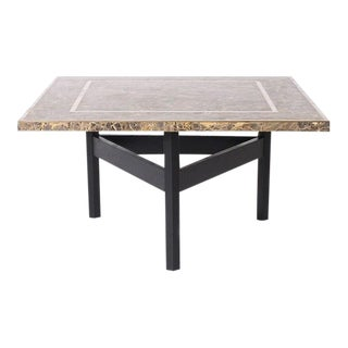 Italian Marble Coffee Table With Black Base, C. 1941 For Sale