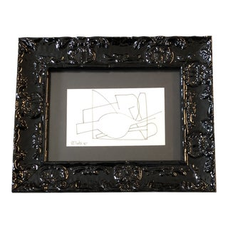Original Vintage Robert Cooke Miniature Abstract Ink Drawing Black Enamel Frame 1980's For Sale