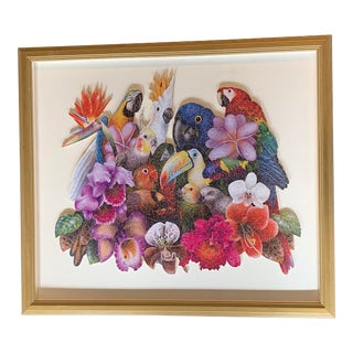 Beautiful Birds and Tropical Floral Framed and Mounted Puzzle For Sale