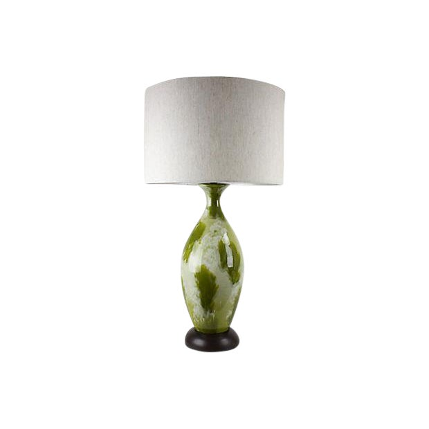 Mid-Century Green Drip-Glaze Lamp For Sale