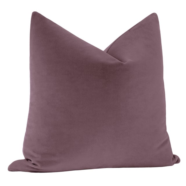 "Contemporary 22"" Hyacinth Italian Velvet Pillows - a Pair For Sale - Image 3 of 5"
