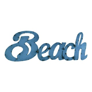"Hand Made Metal ""Beach"" Sign For Sale"
