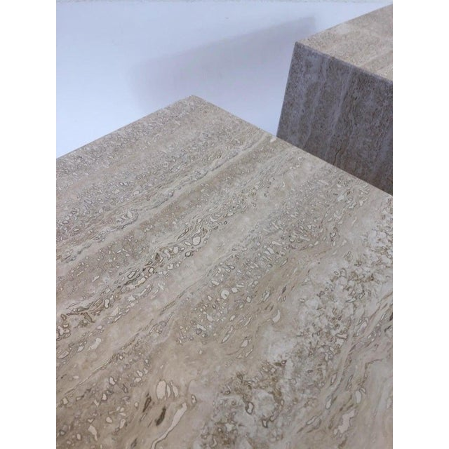 Italian Travertine Side Tables - a Pair For Sale - Image 9 of 10