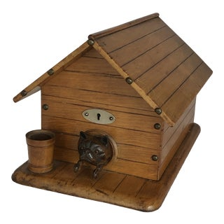 Victorian Dog in Kennel Figural Wood Humidor Cigar Box For Sale