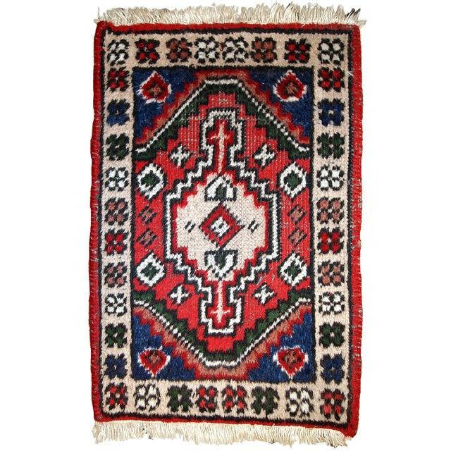 Red 1970s, Handmade Vintage Persian Hamadan Rug 1.3' X 1.9' For Sale - Image 8 of 10