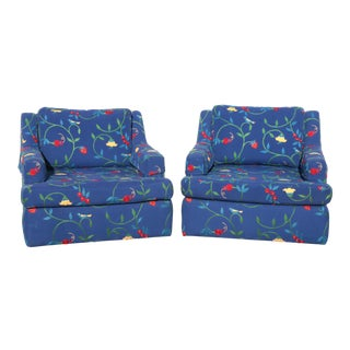 Classic Blue Crewel Stawberry & Vine Club Chairs - a Pair For Sale