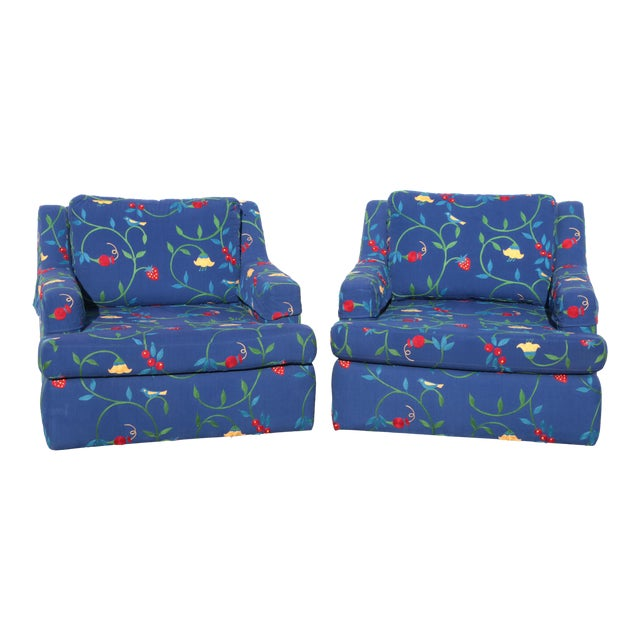 Crewel Embroidered Floral Strawberry Club Chairs - a Pair For Sale