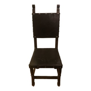 Spanish Style Leather Side Chair For Sale
