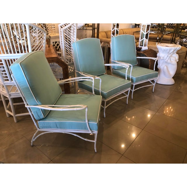Lovely set of 3 vintage metal, faux bamboo arm chairs, club, lounge for patio, outdoors, sunroom. These have been newly...