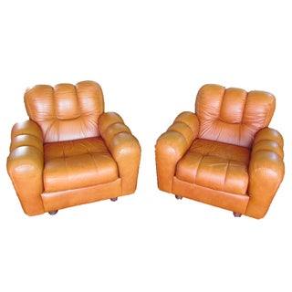 1970s Maple Leather Club Chairs- A Pair