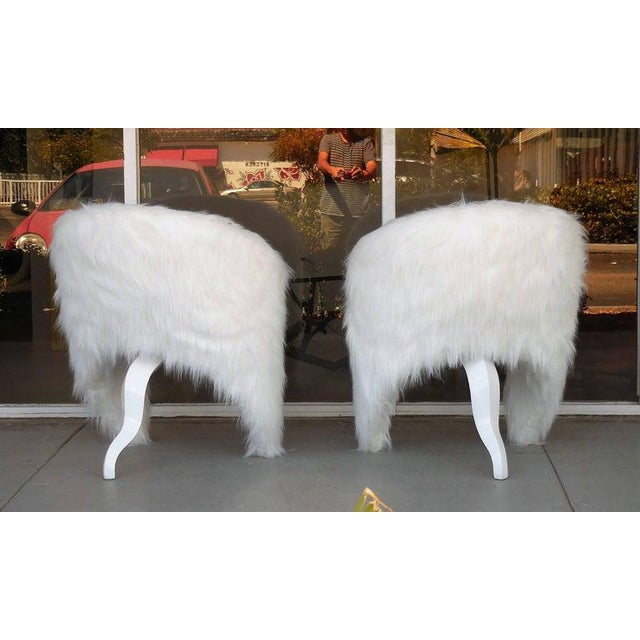Surrealism Pair of White Surreal Faux Fur Lounge Chairs For Sale - Image 3 of 8