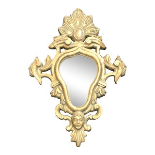 Vintage French Accent Gold Leaf Gilt Ornate Oval Wall Mirror For Sale