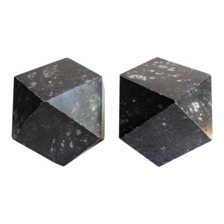 Pair of Italian Black Alabaster Tetradecagon-Form Bookends C. 1960s For Sale