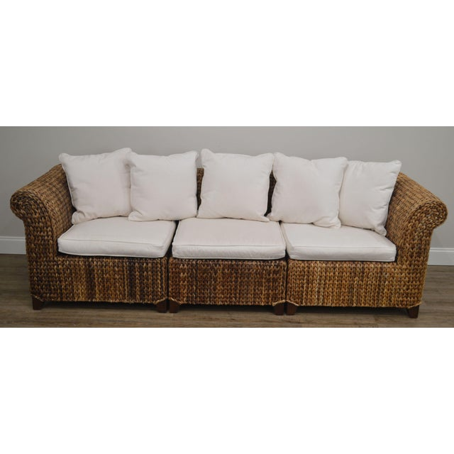 High Quality Woven Seagrass 3 Section Sofa with White Cushions