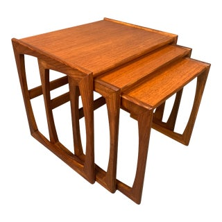"Vintage British Mid-Century Modern Teak ""Quadrille"" Nesting Tables by G Plan For Sale"