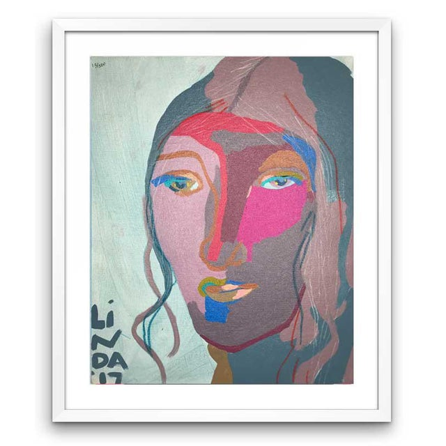 This abstract portrait is by contemporary artist Linda Ward of Detroit. This portrait is #113 out of a series of 500...