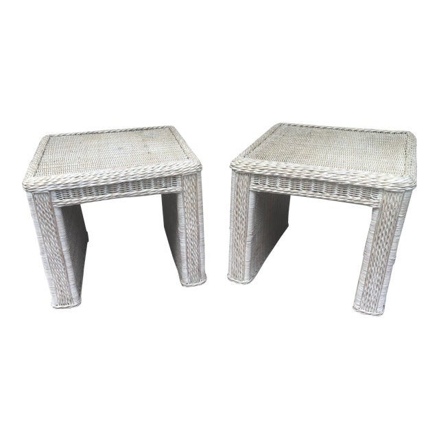Vintage Wicker End Tables - a Pair For Sale