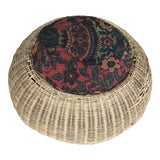 Image of Antique Wicker Button Stool With Cushion For Sale