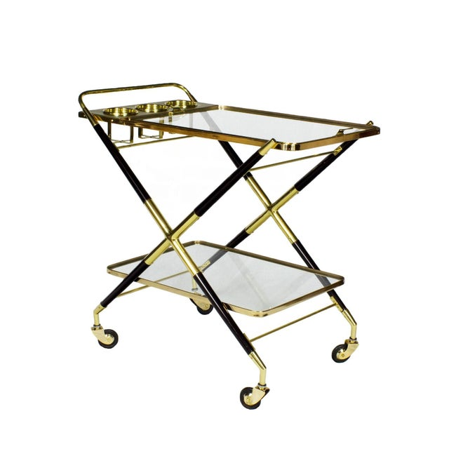 Cesare Lacca 1950s Bar Cart with Tray by Cesare Lacca, Beech, Brass and Glass, Italy For Sale - Image 4 of 11