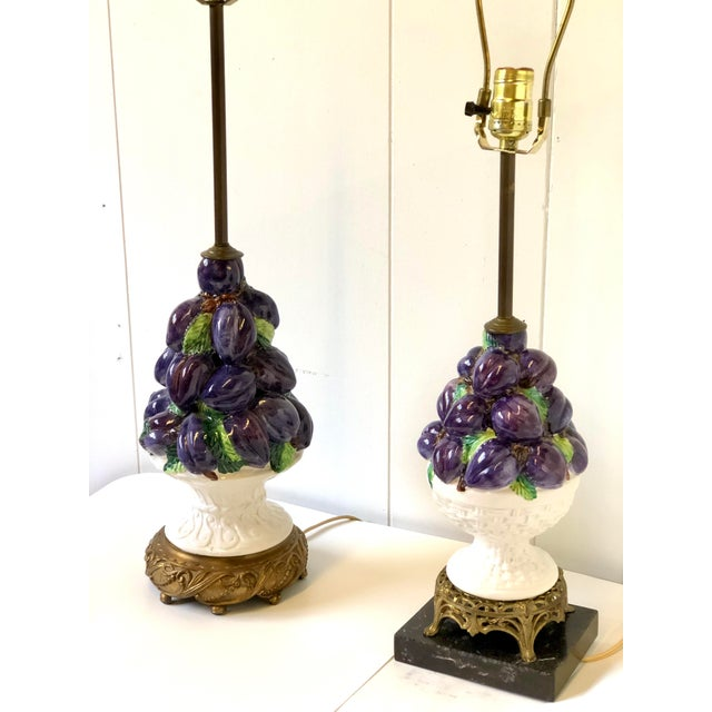 Italian Friendly Vintage Italian Ceramic Fruit Topiary Lamps - a Pair For Sale - Image 3 of 13