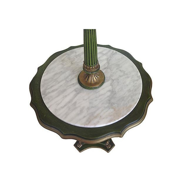 Italian Floor Lamp With Marble Top Table For Sale - Image 4 of 5