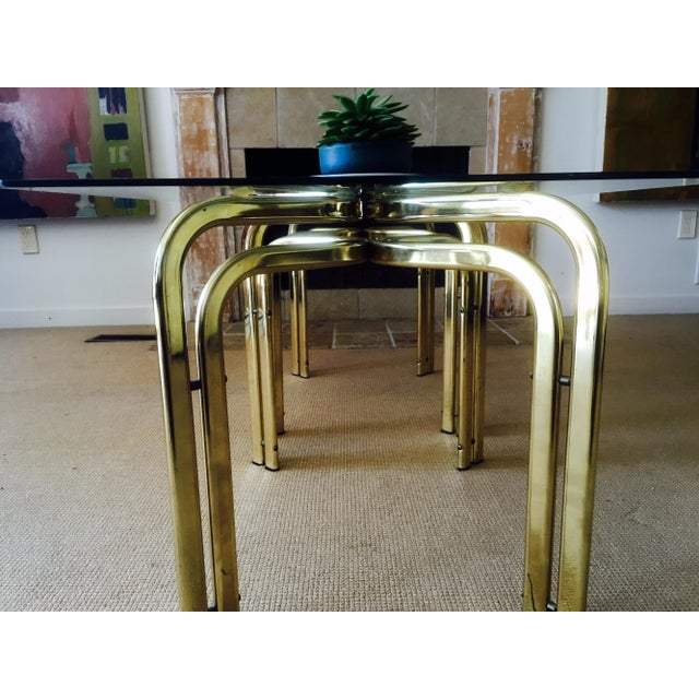 Mid Century Brass & Glass Side Tables - a Pair - Image 5 of 9