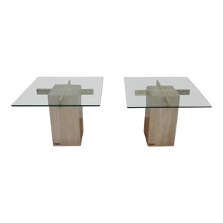 20th Century Traditional Artedi Travertine End Tables - a Pair For Sale