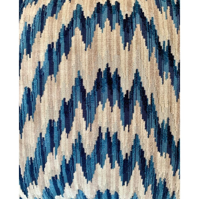 Clarence House Contemporary Clarence House Cut Velvet Chevron Pattern Pillows - a Pair For Sale - Image 4 of 5