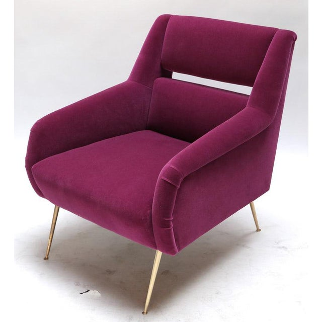 Metal 1960s Italian Style Fuchsia Mohair and Brass Armchairs - a Pair For Sale - Image 7 of 9