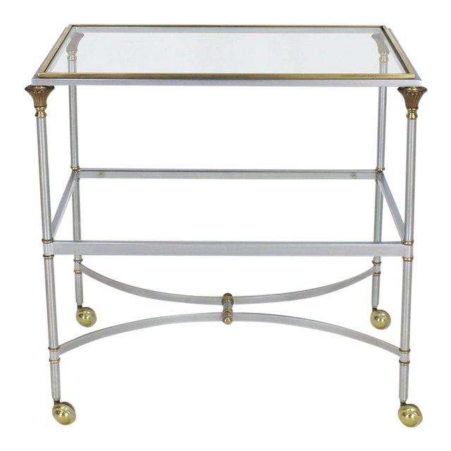Mid Century Modern Two-Tier Brass Chrome Glass Rectangular Serving Bar Cart For Sale - Image 9 of 9