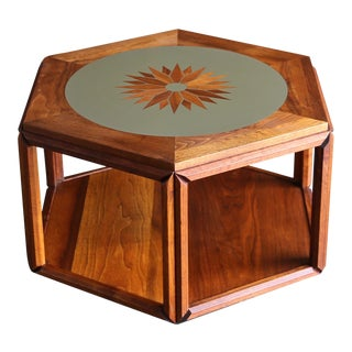 John Keal for Brown Saltman Hexagonal Occasional Table With Sunburst Inlay Circa 1960 For Sale