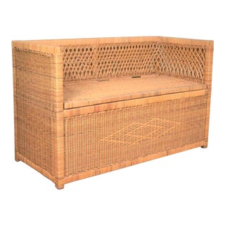 Vintage Modern Wicker Bench Settee With Trunk Style Storage For Sale